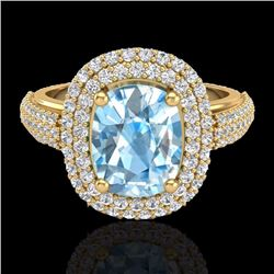 Natural 3.50 CTW Topaz & Micro Pave Diamond Certified Halo Ring 10K Yellow Gold - 20710-REF#-75H3M
