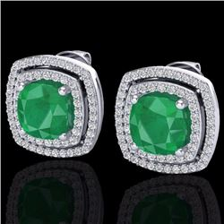 Natural 3 CTW EMERAL & Micro Pave Diamond Certified Halo Earrings 18K White Gold - 20162-REF#-83F7V