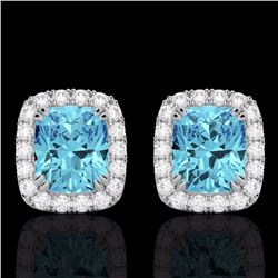Natural 2.50 CTW Sky Blue Topaz & Micro Diamond Certified Halo Earrings 10K White Gold - 22872-REF#-