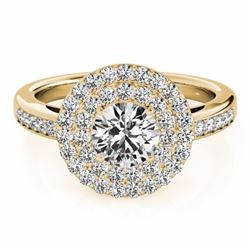 0.85 CTW Certified SI-I Diamond Bridal Solitaire Halo Ring 18K Yellow - 26457-#83H4W