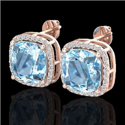 Natural 12 CTW Sky Blue Topaz & Micro Halo Diamond Earrings Solitaire 14K Rose Gold - 23071-REF#-69G