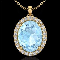 Natural 2.75 CTW Aquamarine & Micro Diamond Halo Solitaire Necklace 18K Yellow Gold - 20580-REF#-53W