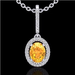 Natural 1.75 CTW Citrine & Micro Pave Diamond Necklace Solitaire Halo 18K White Gold - 20656-REF#-47
