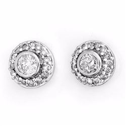 Natural 0.90 ctw Diamond Solitaire Stud Earrings 14K White Gold - 11464-#62Z8P