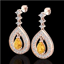 Natural 2.25 CTW Citrine & Micro Pave Diamond Earrings Designer 14K Rose Gold - 23149-REF#-91Y5Z