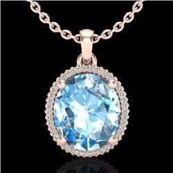 Natural 12 CTW Sky Blue Topaz & Micro Diamond Certified Halo Necklace 14K Rose Gold - 20603-REF#-68V