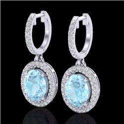 Natural 3.25 CTW Aquamarine & Micro Pave Diamond Earrings Solitaire Halo 18K White Gold - 20311-REF#