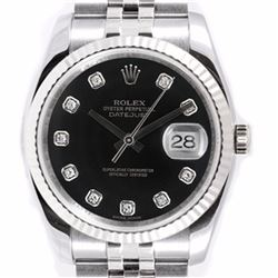 Pre-owned Excellent Condition Authentic Rolex Quickset Men's Stainless Steel DateJust Black Dial Wat