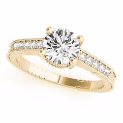 0.34 CTW Certified SI-I Diamond Solitaire Bridal Antique Ring 18K Yellow - 27383-#63A7V