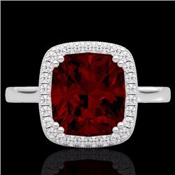 Natural 3 CTW Garnet & Micro Pave Diamond Certified Halo Solitaire Ring 18K White Gold - 22843-REF#-