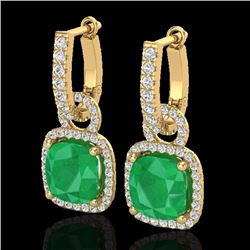 Natural 6 CTW Emerald & Micro Pave Diamond Certified Earrings 18K Yellow Gold - 22962-REF#-83Z5R