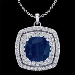 Natural 1.50 CTW Sapphire & Micro Pave Diamond Certified Halo Necklace 18K White Gold - 20463-REF#-5