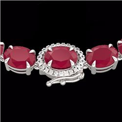 Natural 92 CTW Ruby & Diamond Eternity Tennis Micro Halo Necklace 14K White Gold - 23475-REF#-254Z5R