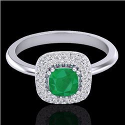 Natural 1.16 CTW Emerald & Micro Diamond Ring Solitaire Double Halo 18K White Gold - 21028-REF#-66N8