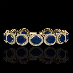 Natural 22 CTW Sapphire & Micro Pave Diamond Certified Bracelet 10K Yellow Gold - 22698-REF#-226K4W