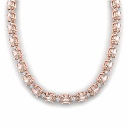 44.25 CTW MORGANITE & DIAMOND SI-I CERTIFIED ETERNITY TENNIS NECKLACE - 29428-#489F2M