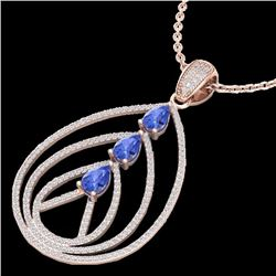 Natural 2 CTW Tanzanite & Micro Diamond Certified Designer Necklace 14K Rose Gold - 22474-REF#-93A3X