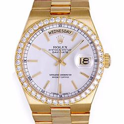 Pre-owned Excellent Condition Authentic Rolex Quickset Men's 18K Yellow Gold Day-Date White Dial Wat