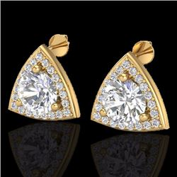 Natural 3 CTW Micro Pave Halo Solitaire Diamond Certified Stud Earrings 18K Yellow Gold - 20189-REF#