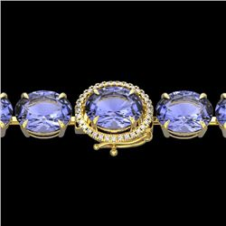 Natural 49 CTW Tanzanite & Micro Diamond Halo Designer Bracelet 14K Yellow Gold - 22281-REF#-713M3F