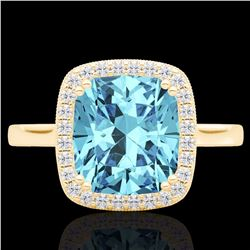 Natural 3.50 CTW Sky Blue Topaz & Micro Diamond Halo Solitaire Ring 18K Yellow Gold - 22854-REF#-48N