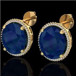 Natural 25 CTW Sapphire & Micro Pave Diamond Certified Halo Earrings 18K Yellow Gold - 20278-REF#-14