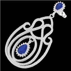 Natural 6.40 CTW Sapphire & Micro Pave Diamond Certified Earrings 14K White Gold - 22429-REF#-243G4N