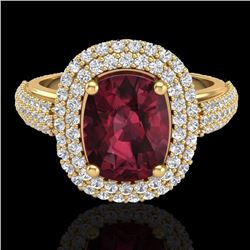 Natural 3.10 CTW Garnet & Micro Pave Diamond Certified Halo Ring 10K Yellow Gold - 20713-REF#-75A2X