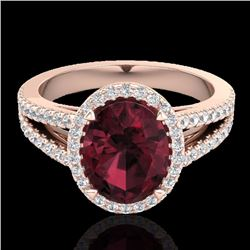 Natural 3 CTW Garnet & Micro Diamond Certified Halo Solitaire Bridal Ring 14K Rose Gold - 20940-REF#