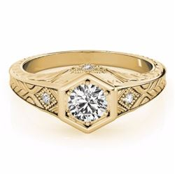 0.40 CTW Certified SI-I Diamond Solitaire Bridal Antique Ring 18K Yellow - 27224-#62N9F