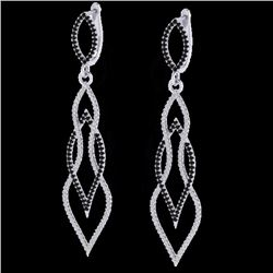 Natural 1.90 CTW Micro Pave Black & White Diamond Certified Earrings 14K White Gold - 20092-REF#-122