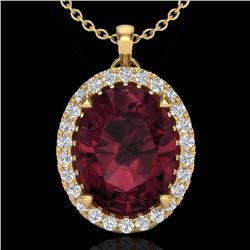 Natural 2.75 CTW Garnet & Micro Diamond Halo Solitaire Necklace 18K Yellow Gold - 20591-REF#-42Y5Z