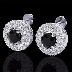 Natural 1.40 CTW Micro Diamond Certified Designer Earrings 18K White Gold - 20191-REF#-77T8K