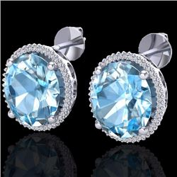 Natural 25 CTW Sky Blue Topaz & Micro Diamond Certified Halo Earrings 18K White Gold - 20265-REF#-11