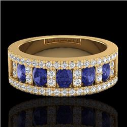 Natural 1.75 CTW Tanzanite & Micro Pave Diamond Inspired Ring 10K Yellow Gold - 20832-REF#-52Y5Z