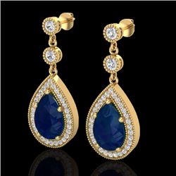Natural 6 CTW Sapphire & Micro Pave Diamond Certified Earrings Designer 18K Yellow Gold - 23123-REF#