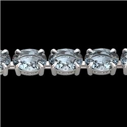 Natural 20 CTW Aquamarine Eternity Designer Inspired Tennis Bracelet 14K White Gold - 23384-REF#-133