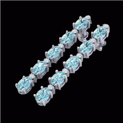 Natural 6 CTW Sky Blue Topaz & Diamond Certified Tennis Earrings 10K White Gold - 21515-REF#-27Z2R