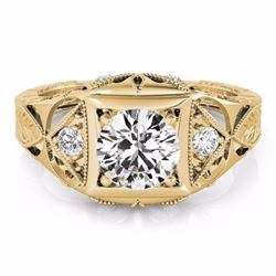 0.60 CTW Certified SI-I Diamond Solitaire Bridal Antique Ring 18K Yellow - 27239-#95T7Z