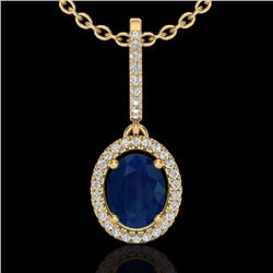 Natural 2 CTW Sapphire & Micro Pave Diamond Necklace Solitaire Halo 18K Yellow Gold - 20670-REF#-47A