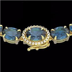 Natural 90 CTW London Blue Topaz & Diamond Tennis Micro Halo Necklace 14K Yellow Gold - 23485-REF#-2