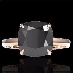 Natural 6 CTW Black Diamond Designer Inspired Solitaire Engagement RNG 14K Rose Gold - 22174-REF#-10
