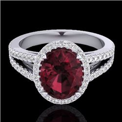 Natural 3 CTW Garnet & Micro Diamond Certified Halo Solitaire Bridal Ring 18K White Gold - 20941-REF