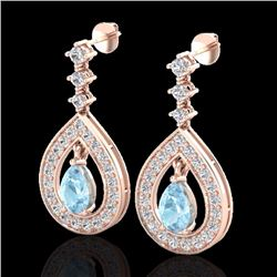 Natural 2.25 CTW Aquamarine & Micro Pave Diamond Earrings Designer 14K Rose Gold - 23146-REF#-94A7X