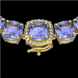 Natural 100 CTW Tanzanite & Diamond Halo Micro Necklace 14K Yellow Gold - 23363-REF#-956Z5R