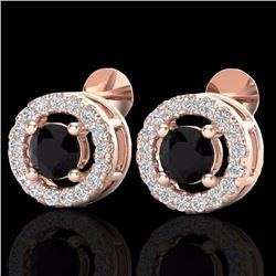 Natural 0.75 CTW Micro Pave Diamond Certified Earrings Solitaire Halo 14K Rose Gold - 20055-REF#-32M