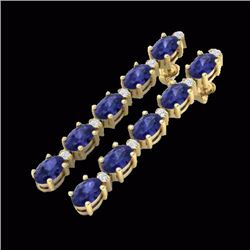 Natural 6 CTW Tanzanite & Diamond Certified Tennis Earrings 10K Yellow Gold - 21535-REF#-45V5Y