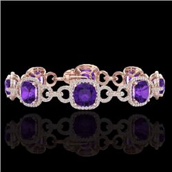 Natural 30 CTW Amethyst & Micro Diamond Certified Bracelet 14K Rose Gold - 23016-REF#-267T7K