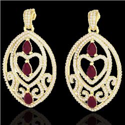 Natural 7 CTW Ruby & Micro Pave Diamond Heart Earrings Designer IN 18K Yellow Gold - 21159-REF#-248R