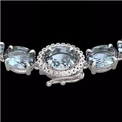 Natural 64 CTW Aquamarine & Diamond Eternity Tennis Micro Halo Necklace 14K White Gold - 23452-REF#-